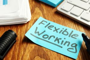 Flexible working policy concept. Piece of paper on table.